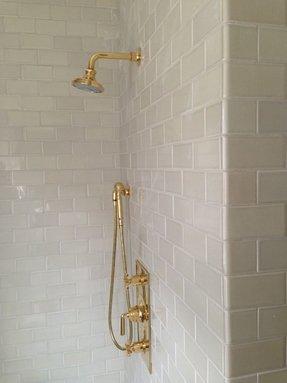 Antique Brass Shower Fixtures Foter - Gold brass bathroom fixtures