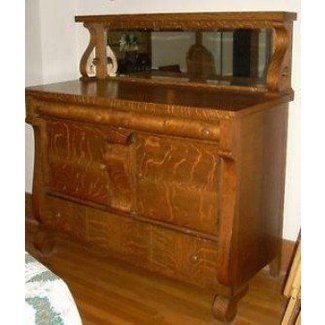 Antique Empire Tiger Oak Dining Room Server Buffet Sideboard With