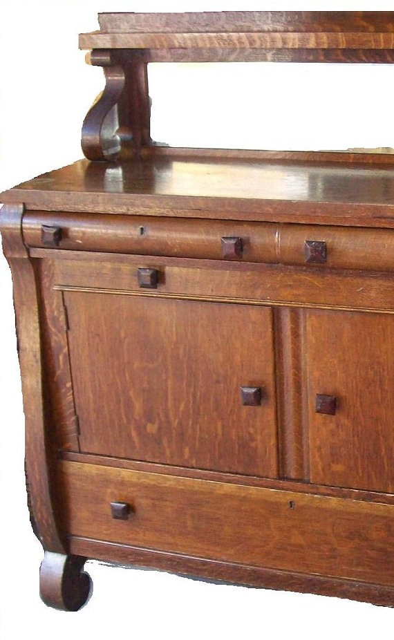 Antique Tiger Oak Sideboard Buffet Mirror Shelf By 3vintagehearts 239