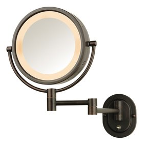 Battery operated wall mounted lighted makeup mirror foter seeall 8 oil rubbed bronze finish dual sided surround light wall mount makeup mirror aloadofball Gallery