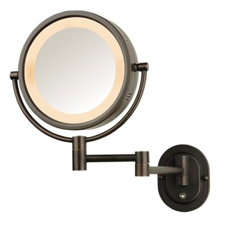 "SeeAll 8"" Oil Rubbed Bronze Finish Dual Sided Surround Light Wall Mount Makeup Mirror (Hardwired Model)"