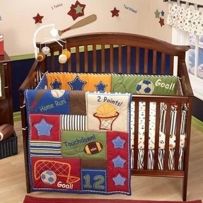 Blue and red baby boy sports theme cheap nursery crib