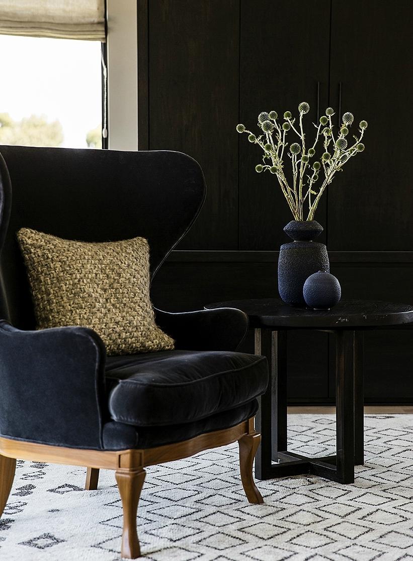 Charmant Blue Velvet Wingback Chair