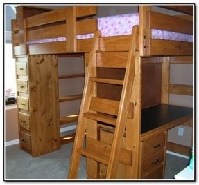 Bunk bed with desk and dresser 1