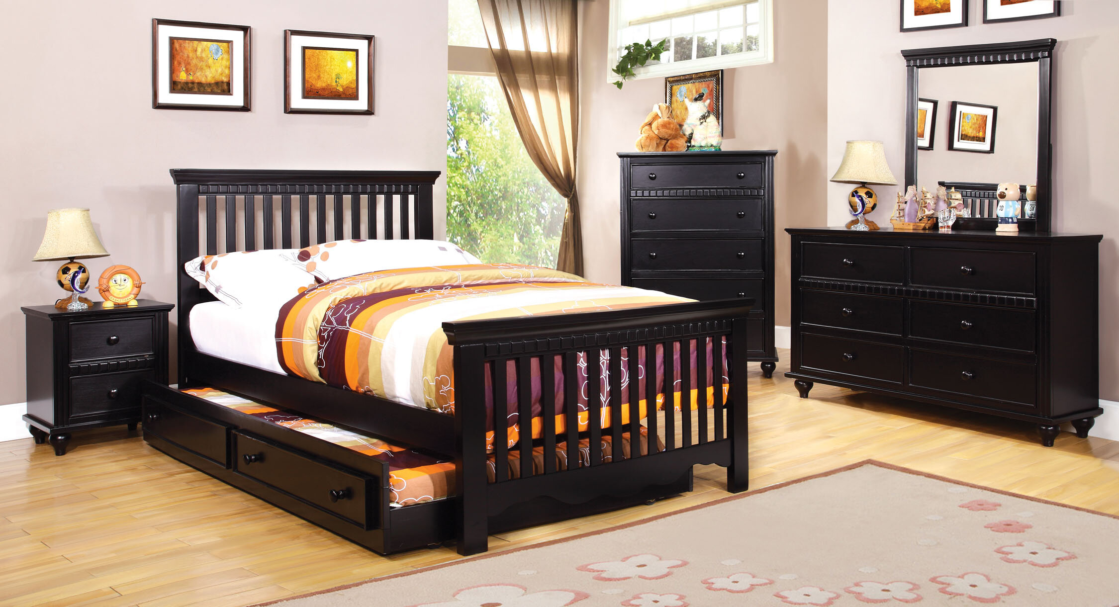 Castillian Cottage Style Black Finish Full Size Bed Frame Set W/ Trundle