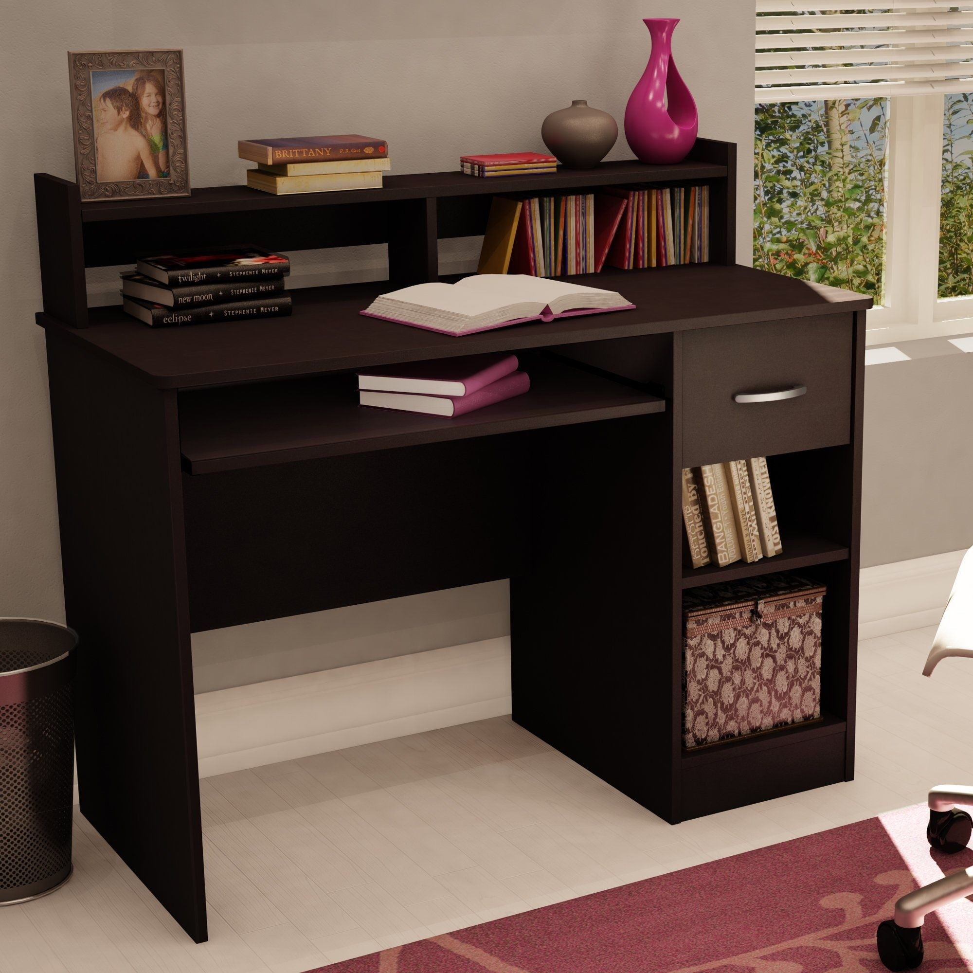 Computer Desk With Hutch Small Office Furniture Corner Bookcase Drawers