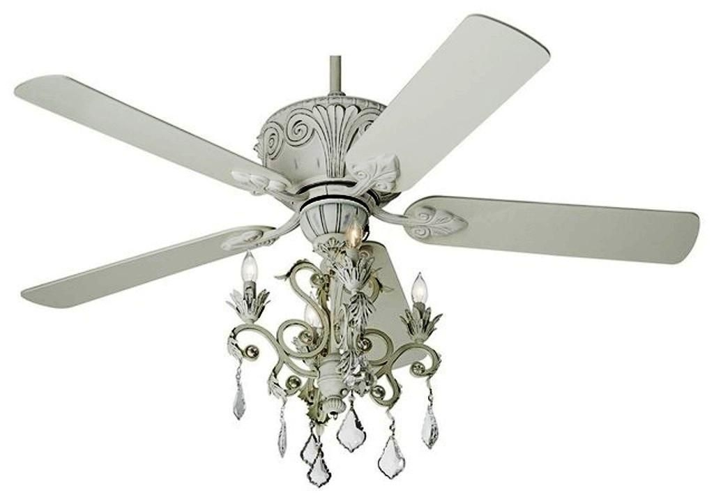 Crystal Casa Devilletm Rubbed White Chandelier Ceiling Fan Modern Ceiling Fans