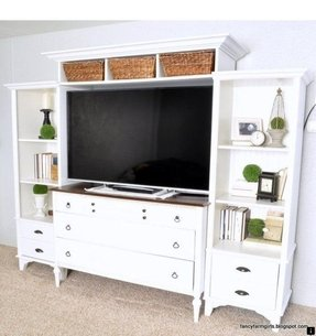 Diy turning an old dresser bookshelves into a media center