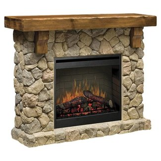 Embrace rustic fieldstone electric fireplace