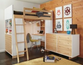 Full size loft bed with desk and dresser2