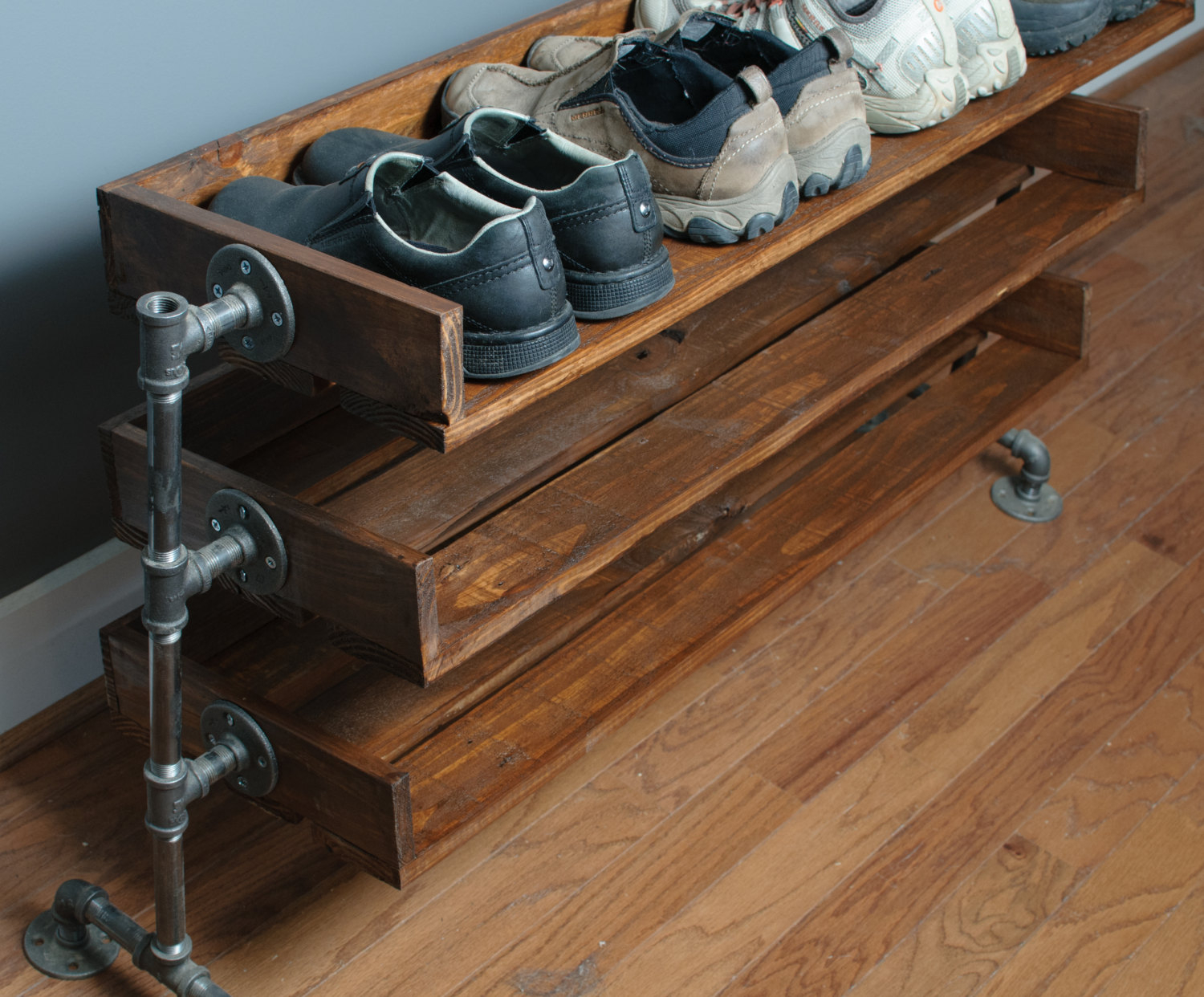 Handmade Reclaimed Wood Shoe Stand With