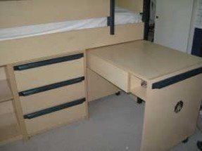Loft bed with desk and dresser 1