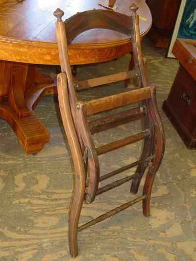 Beau Pair Of Antique Victorian Grain Painted Folding Chairs