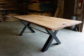 Cross leg table foter reclaimed wood live edge dining table by watchthetrailerfo