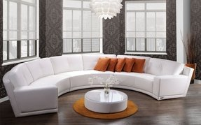 Round leather sectional 3