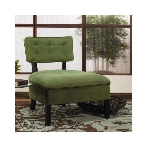 Slipper Chair Green   The Unique Design Of The Curves Button Back Slipper  Chair Will Enhance