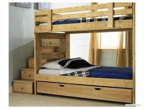 Solid Wood Bunk Beds With Stairs