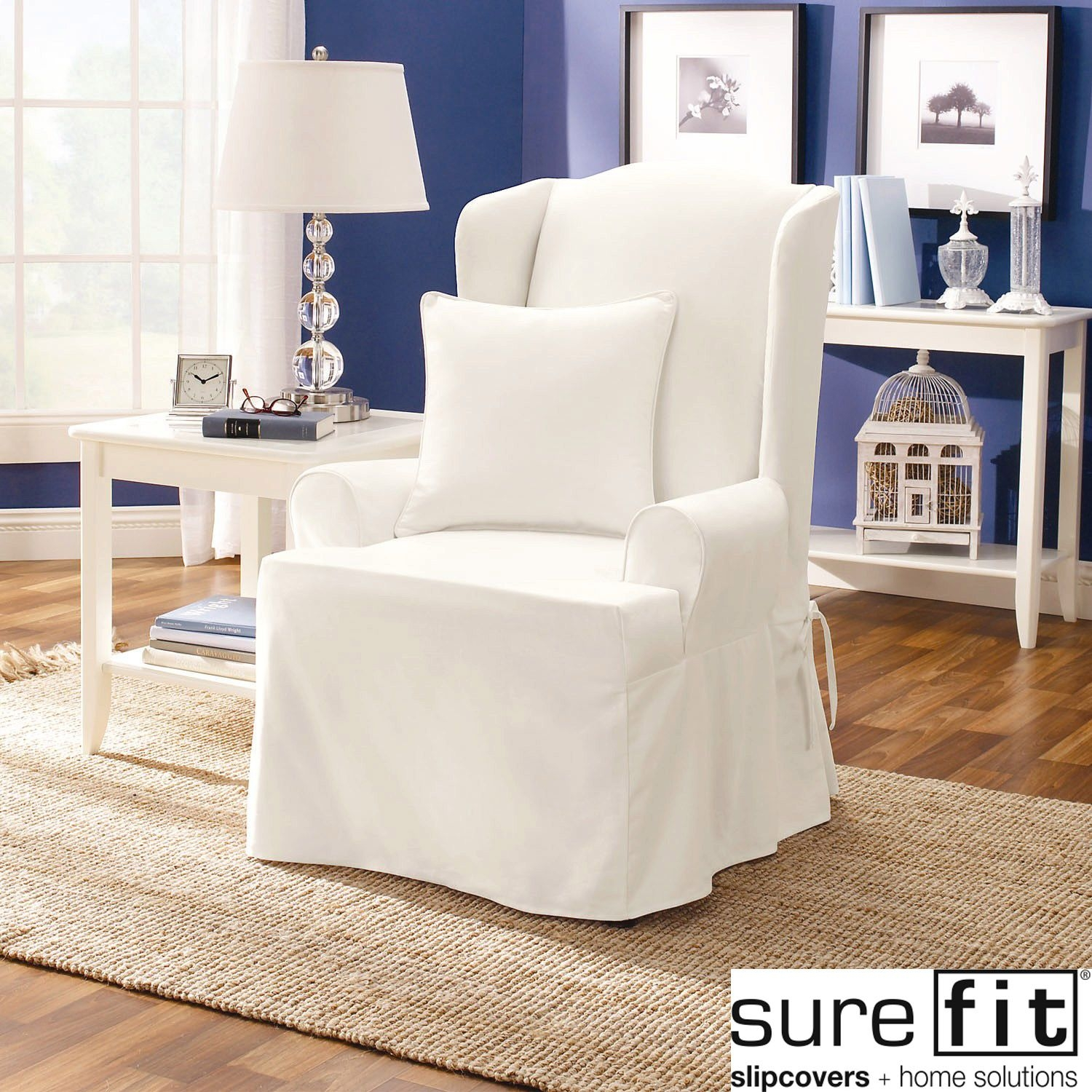 Wonderful Sure Fit Twill Supreme Wing Chair Slipcover 2