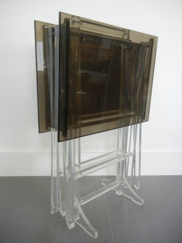 Vintage Schribe Lucite Acrylic Folding Snack Tables With Stand Tv