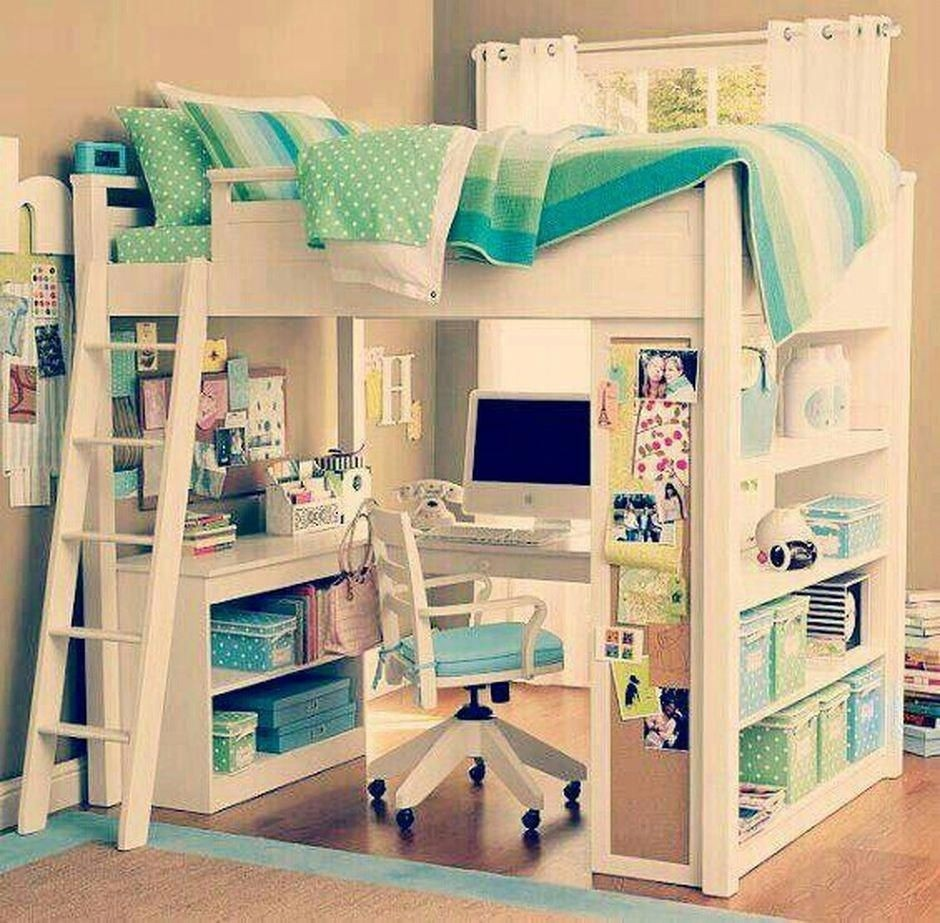 Elegant White Double Loft Bed