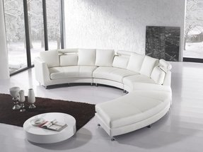 White leather circular sectional