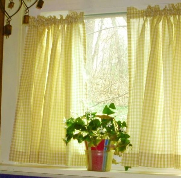 Yellow Plaid Kitchen Curtains