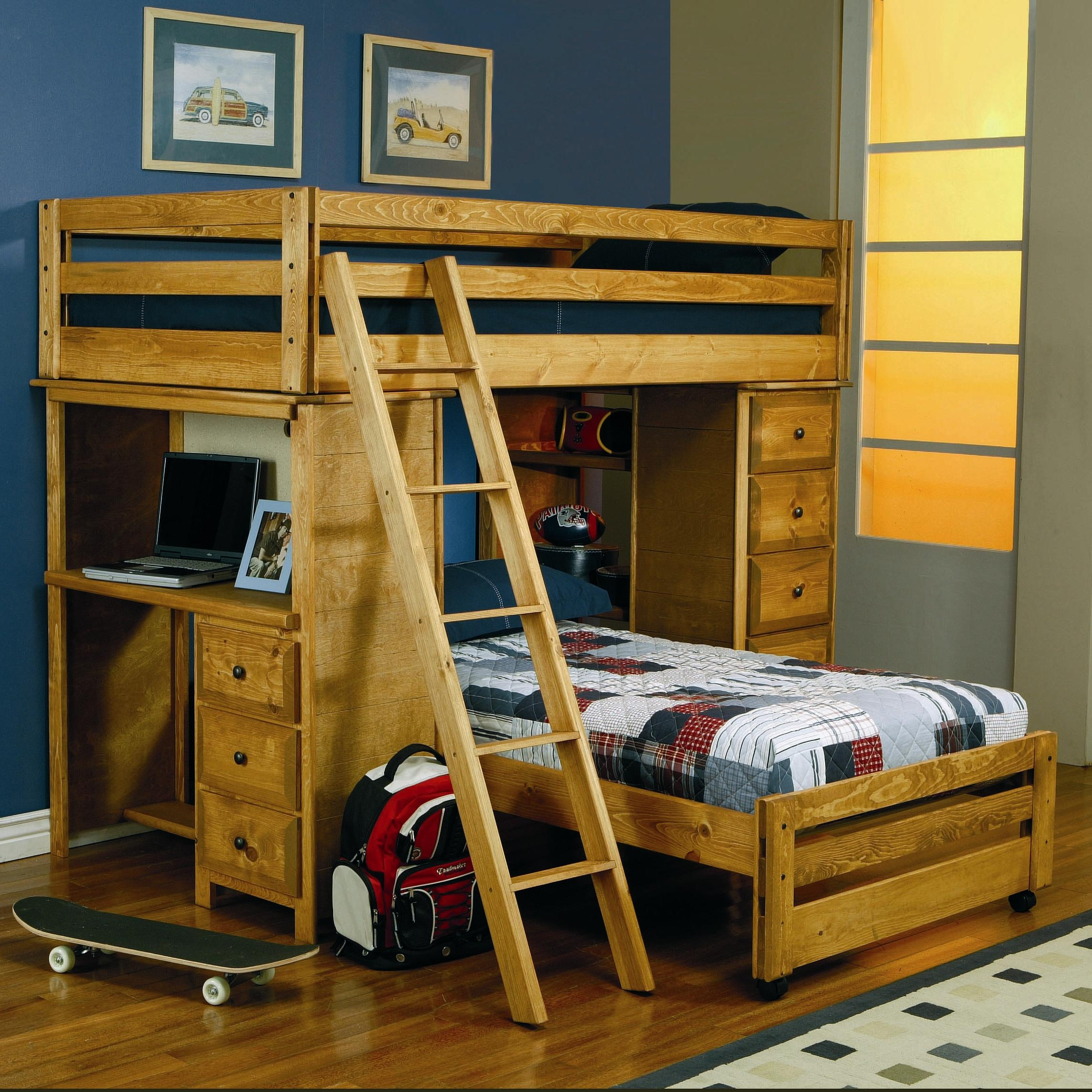 Youth Bunk Bed Wood With Desk And Drawers Tv Cabinet And 6 Drawers Dresser
