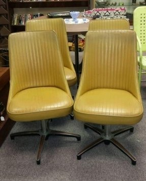 e7344331f4a49 4 vintage mid century modern yellow chromcraft kitchen dining chairs