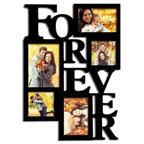 "Adeco 5-Opening Decorative Wood ""Forever"" Collage Wall Hanging Picture Frame, 5 by 7-Inch/4 by 6-Inch/4 by 4-Inch, Black"