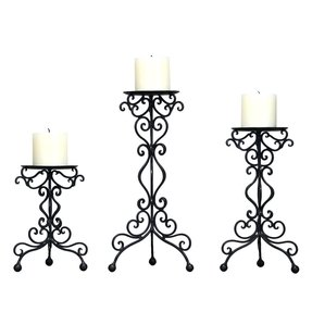 Adeco Iron Table Desk Top Candle Holders, Detailed Scroll Stand, Various Heights (Set of 3)