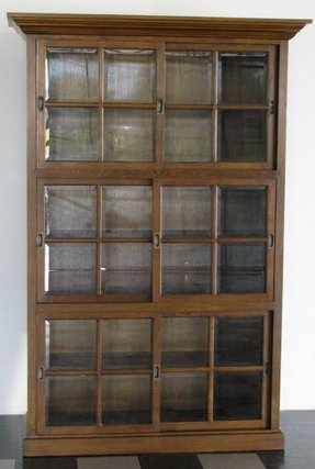 309 American Oak Bookcase W Beveled Gl Doors