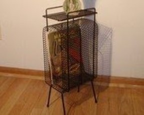 Atomic magazine rack mid century modern side table plant stand