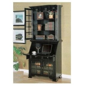 Black Secretary Desk With Hutch 2