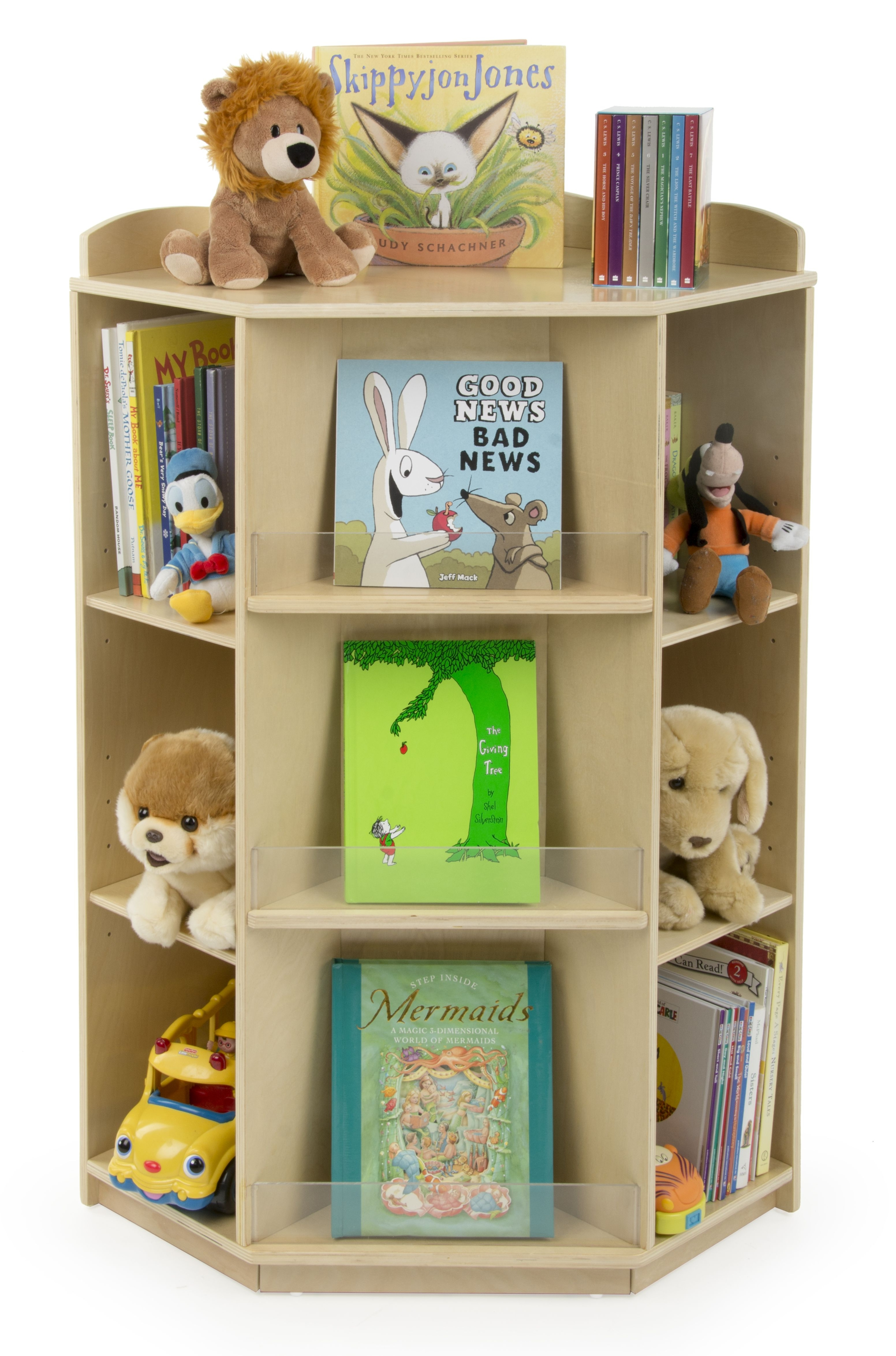 "Children's Kitty Corner Bookshelf with Height Adjustable Shelves, Solid Birch Wood, 44"" Tall"
