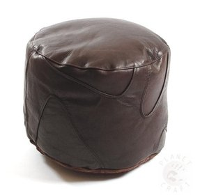 Coffee large round leather footstool