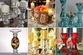 Colored glass candlesticks