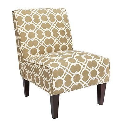 Contemporary Assembled Armless Accent Chair Ortiz Basil Green Geometric  Design Print Modern Decor Dark Wood Structure