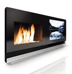 Contemporary fireplace tv stand