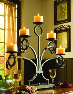 Fireplace candle holder black wrought iron