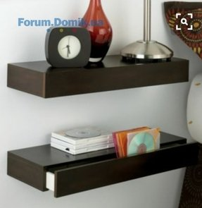 Floating corner shelf with drawer