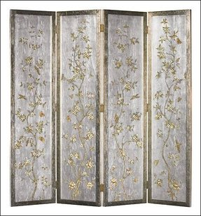 Folding screen with hand painted glass panels