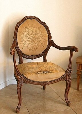 French louis xv fauteuil tapestry arm chair early by neovintageorg