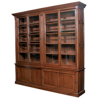 Furniture classics double sliding door european solid oak bookcase with