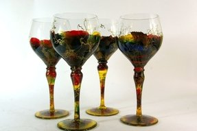 Hand blown crystal wine glasses handcrafted in romania set of