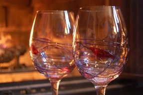 Hand blown crystal wine glasses