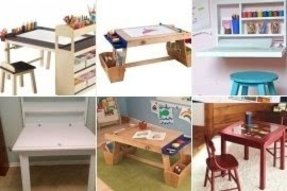 Kids art table with storage