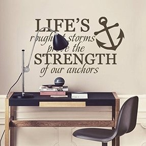 Life's Roughest Storms Prove The Strength Of Our Anchors Inspirational Wall Decal Vinyl Nautical Wall Sticker Wall Quotes Words Grphic Home Art Decoration