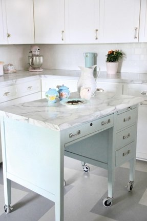 Metal top kitchen island
