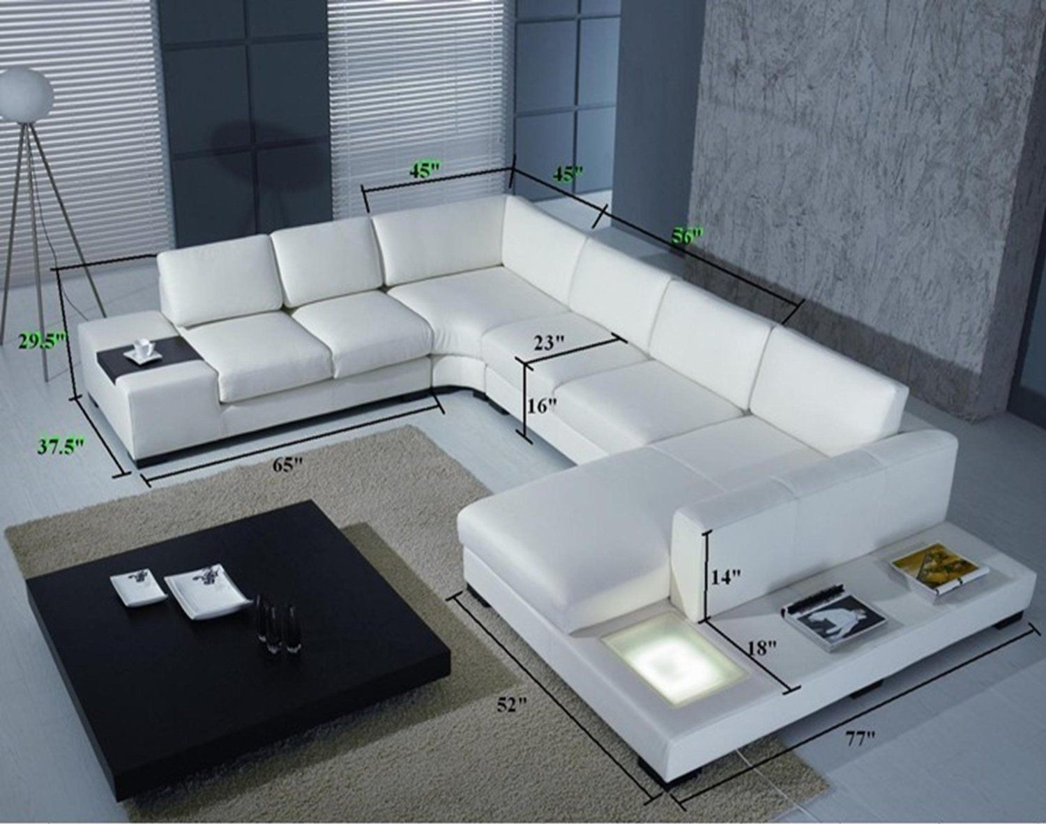 Merveilleux Modern White Top Grain Leather Modular Sectional Sofa Contemporary Couch