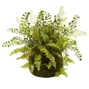 Nearly Natural 4846 Mixed Fern with Twig and Moss Basket